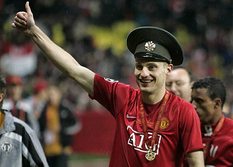 Vidic during Champions League celebrations in Moscow.