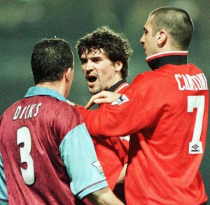 As much as you love them, you have to admit the name on the back of the aggrieved Villa player sums up Keane-o and Cantona perfectly.