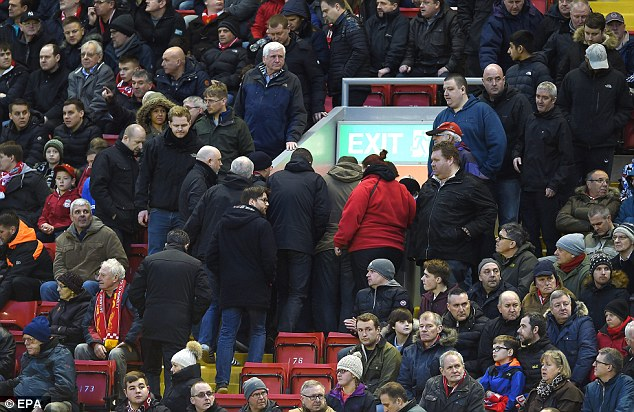 Fans leave the Kop in protest against high ticket pries