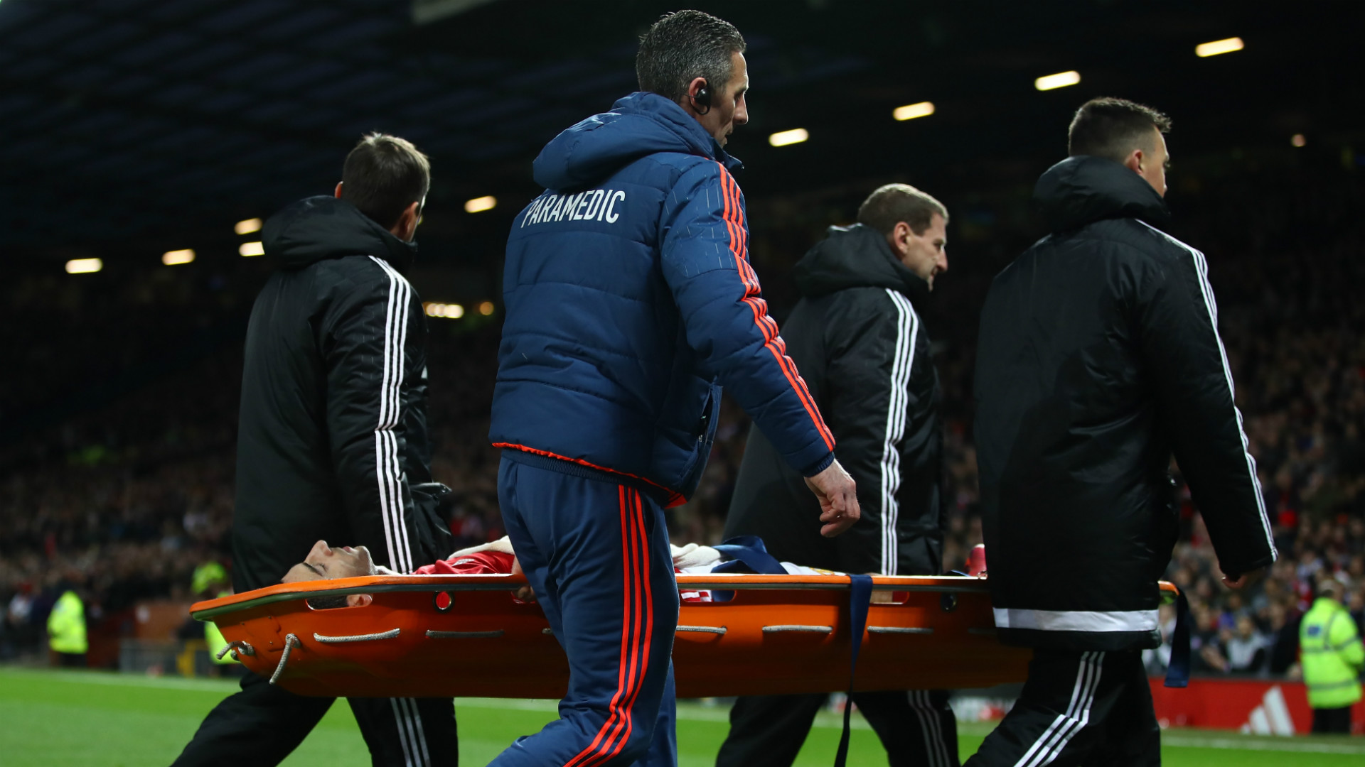 Man United's Henrikh Mkhitaryan is stretchered off in the second half at Old Trafford against Tottenham