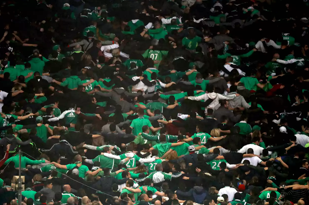 St Etienne fans celebrated into the night despite their side being 4-0 victims to Manchester United's Europa League progress.
