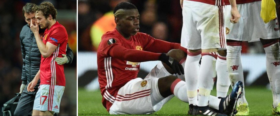 Neither Blind nor Pogba slipped on a banana, but neither was able to finish Manchester United's Europa League second leg against Rostov.