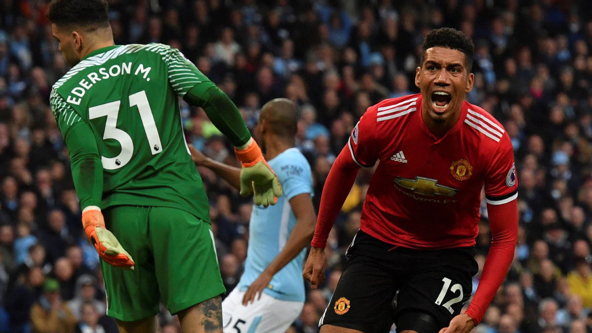 Chris Smalling delivers the winning goal in the Manchester Derby