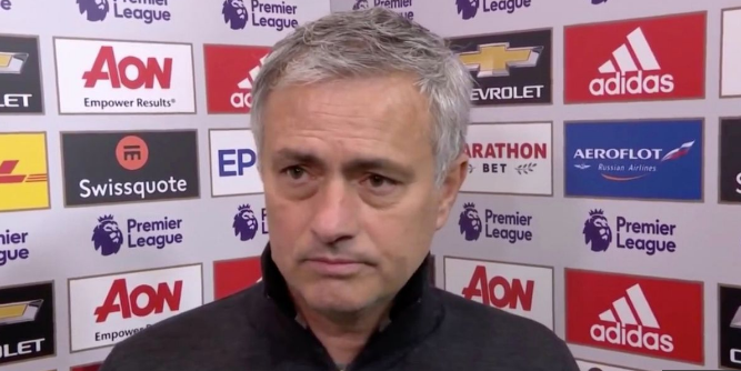 Mourinho patiently awaits a question after the Manchester Derby