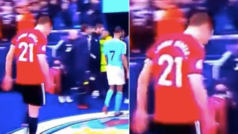 Ander Herrera denies deliberately spitting on Manchester City badge