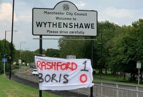 Photo Banner Spotted In Wythenshawe Rashford 1 0 Boris Stretty News